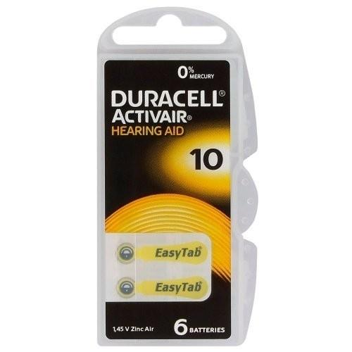 """1,4V Duracell EASYTAB hallókészülék elem """"10"""" BL/6"""