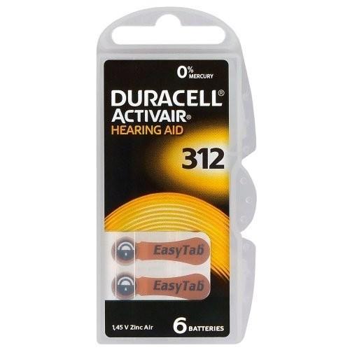 """1,4V Duracell EASYTAB hallókészülék elem """"312"""" BL/6"""