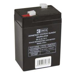 EMOS 6V/4 Ah zárt,savas ólomakkumulátor 70x47x101mm Faston 4,7mm B9641