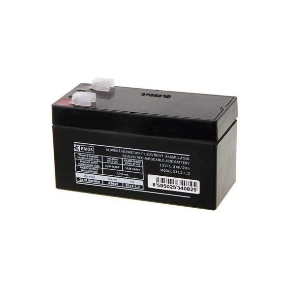 EMOS 12V/1,3Ah zárt,savas ólomakkumulátor 97x45x53mm Faston 4,7mm B9652