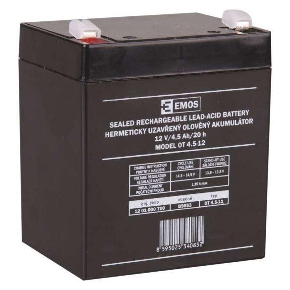 EMOS 12V/4,5Ah zárt,savas ólomakkumulátor 90x70x101mm faston 4,7mm B9653