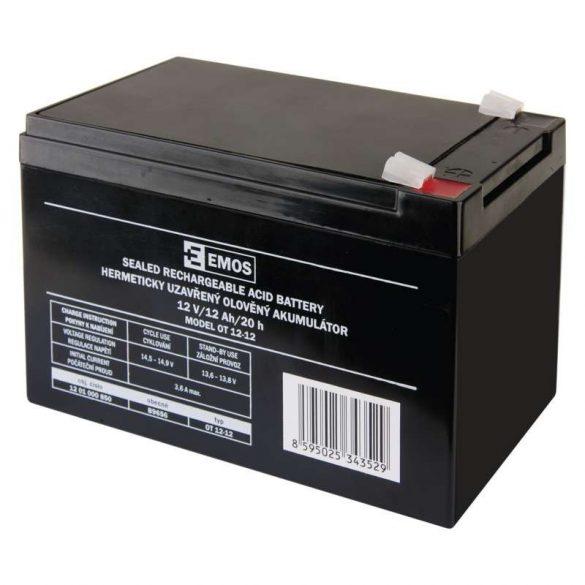 EMOS 12V/12Ah zárt,savas akkumulátor 151x98x95mm Faston 6,3mm B9656