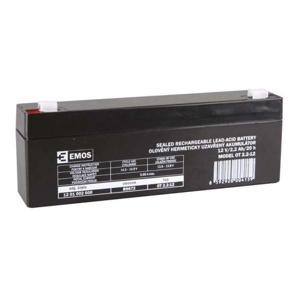 EMOS 12V/2,2Ah zárt,savas ólomakkumulátor 178x35x61mm Faston 4,7mm B9672