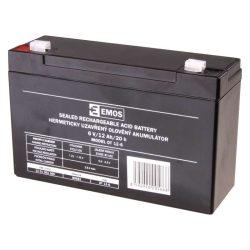 EMOS 6V/12Ah zárt,savas ólomakkumulátor 151x51x94mm Faston 4,7mm B9682