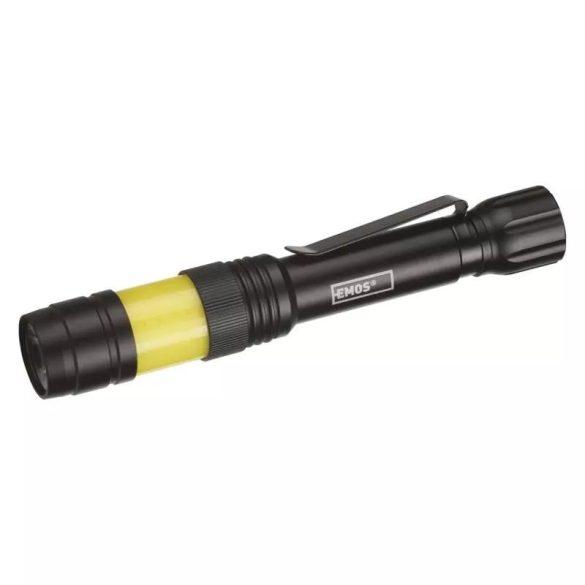 EMOS COB LED fém zseblámpa, 2xAAA, 180lm, IP44 P3112