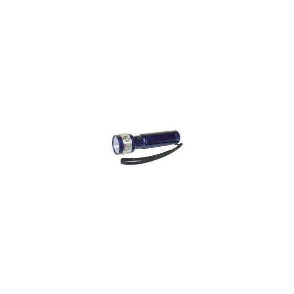 EMOS elemlámpa 1W LED+3 villogó piros  fém 3xAA kék szinű