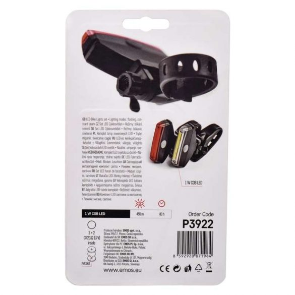 EMOS kerékpárlámpa első + hátsó szett 1W COB led P3922