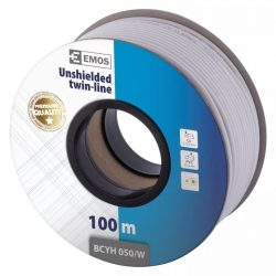 EMOS Hangfalkábel 2*0.50mm fehér 100m S8251