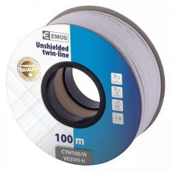 EMOS Hangfalkábel 2*1.00mm fehér 100m S8281