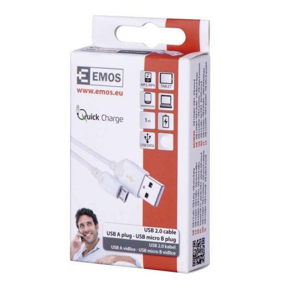 Emos USB 2.0 kábel  USB A dugó-USB mikró B dugó,FEHÉR,QCH,1 m SM7004W