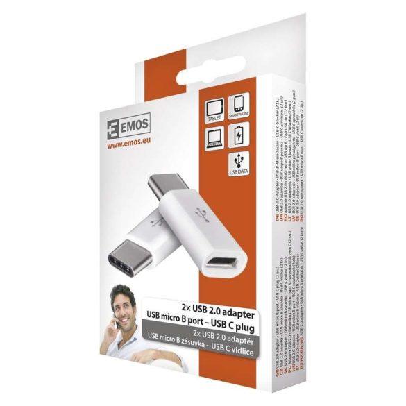Emos USB 2.0 adapter, USB mikro B port-USB C plug SM7023