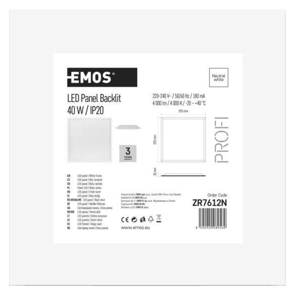 EMOS Profi LED panel beépíthető 40W 4000lm IP20 természetes fehér ZR7612N