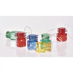 EMOS Home Dekoráció színes üvegcsék 1.5M 18LED 3xA időzítővel, meleg fehér