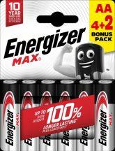 Energizer Max AA ceruza elem (LR6) bl/4+2