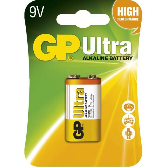 GP Ultra alkáli 9V-os elem 6LP3146,(6LF22,1604AU) bliszteres/1 B1951