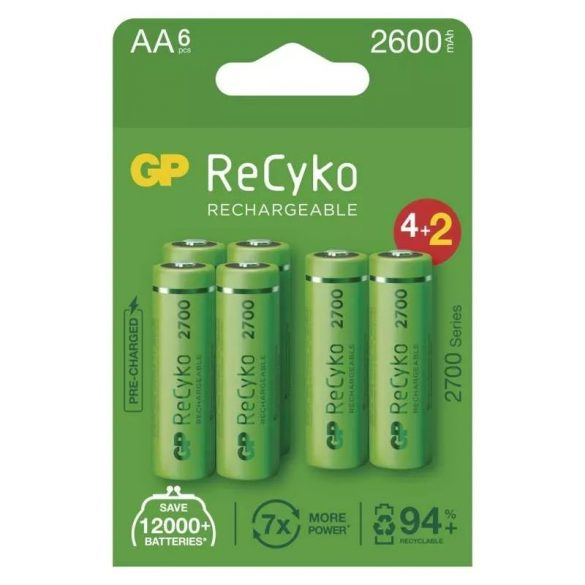 GP ReCyko Ni-MH akku ceruza AA (HR6) 2700mAh bl/4+2 B2127V