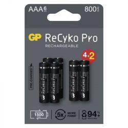 GP Recyko+ Pro Professional NI-MH AAA mikró 800 mAh akku BL/4+2 B2218V