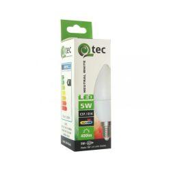 Qtec LED 5W GYERTYA C37 E14 4200K (semleges fehér) 400lm