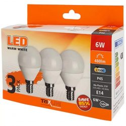 TRIXLINE LED globe mini P45 6W E14 2700K 480 lumen, 3db-os KISZERELÉS!