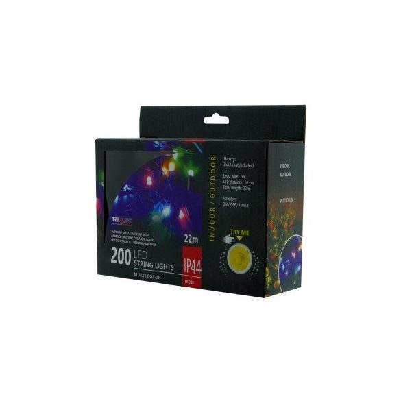 TRIXLINE karácsonyi fényfüzér TR338 200 LED 22 méter,színes,elemes,kültéri