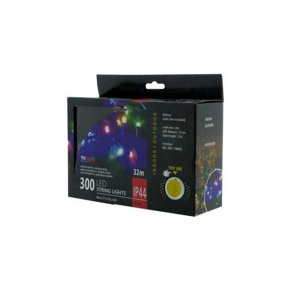TRIXLINE karácsonyi fényfüzér TR348 300 LED 32 méter,színes,elemes,kültéri
