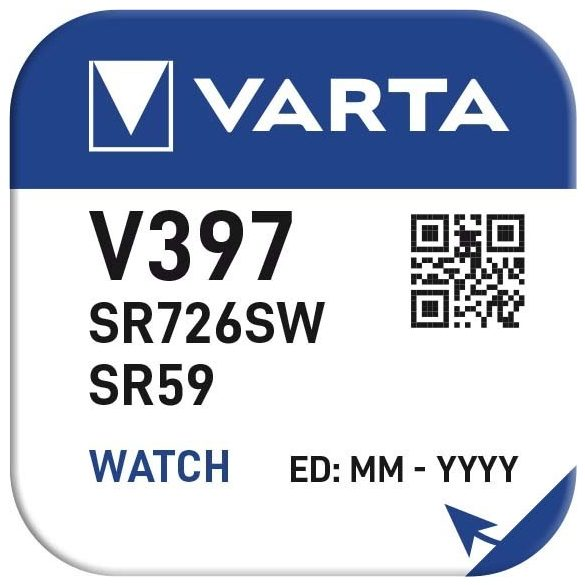 1,55V Varta ezüst oxid gombelem V397,SR726SW bl/1