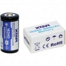 XTAR 16340 (CR123) 3,7V,650 mAh Li-ion akku védelemmel