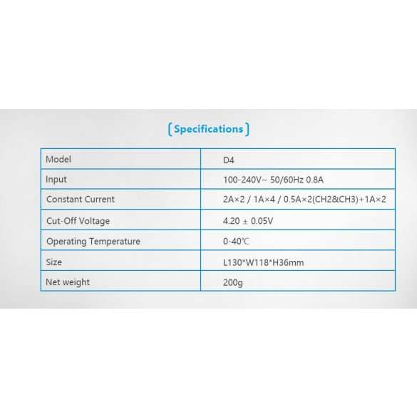 XTAR D4  négy csatornás Li-ion akkutöltő 230V