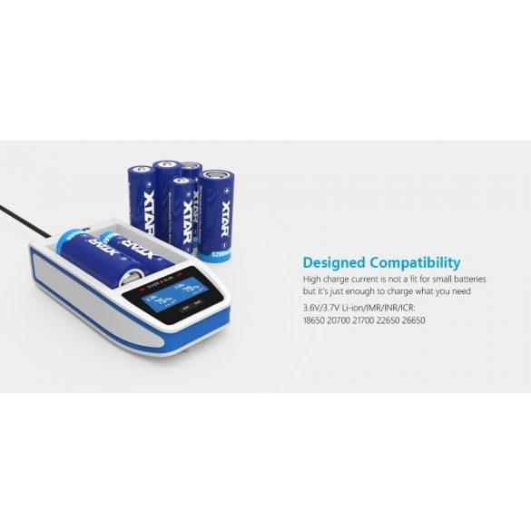 XTAR OVER 4 SLIM akkutöltő 2db lithium akkuhoz+2 USB port