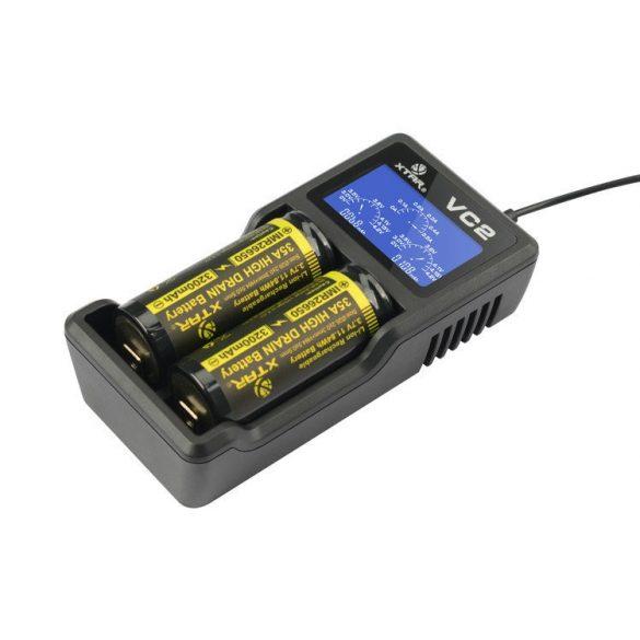 XTAR VC2 akkutöltő 2db lithium akkuhoz (Li-ion)