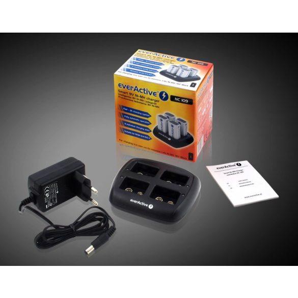 everActive NC-109 professzionális akkutöltő akár 4db 9V-os akkuhoz